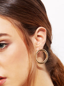 Cutout Round Golden Hoop Studs Earrings