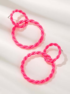 Pink Braided Double Ring Alloy Hoop Earring