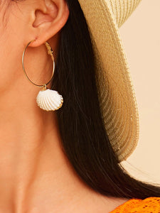 Golden 1pair Shell Charm Metal Hoop Drop Earrings