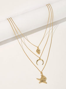 Golden 1pc Starfish & Metal Moon Pendant Layered Chain Necklace