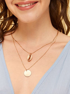 1pc Golden Double Layered Shell & Disc Pendant Chain Necklace