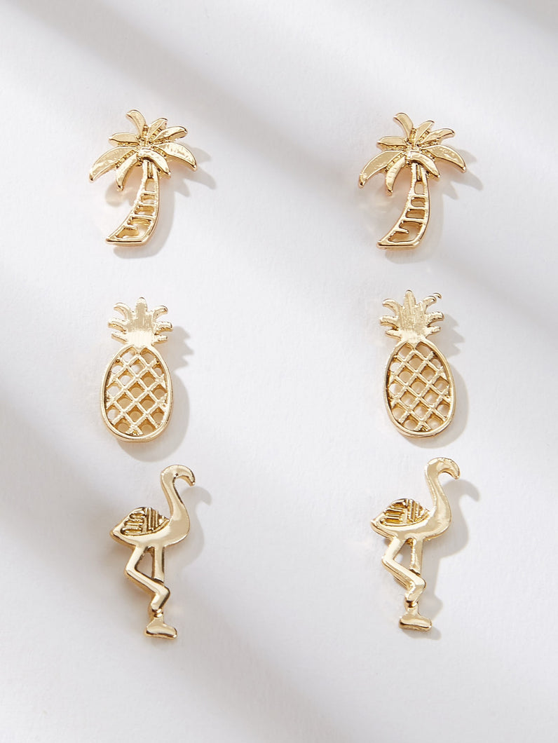 Golden 3pairs Pineapple & Coconut Tree Shaped Metal Stud Earring Set