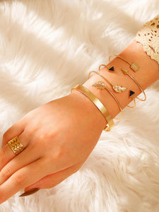 Golden 5pcs Leaf Decor Metallic Bangle Bracelet & Ring