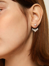 Load image into Gallery viewer, Silver Rhinestone Arrow With Faux Pearl 1 Pair Stud Earrings