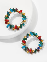Load image into Gallery viewer, 1pair Multicolor Gold Metal Hoop Earrings With Gemstone