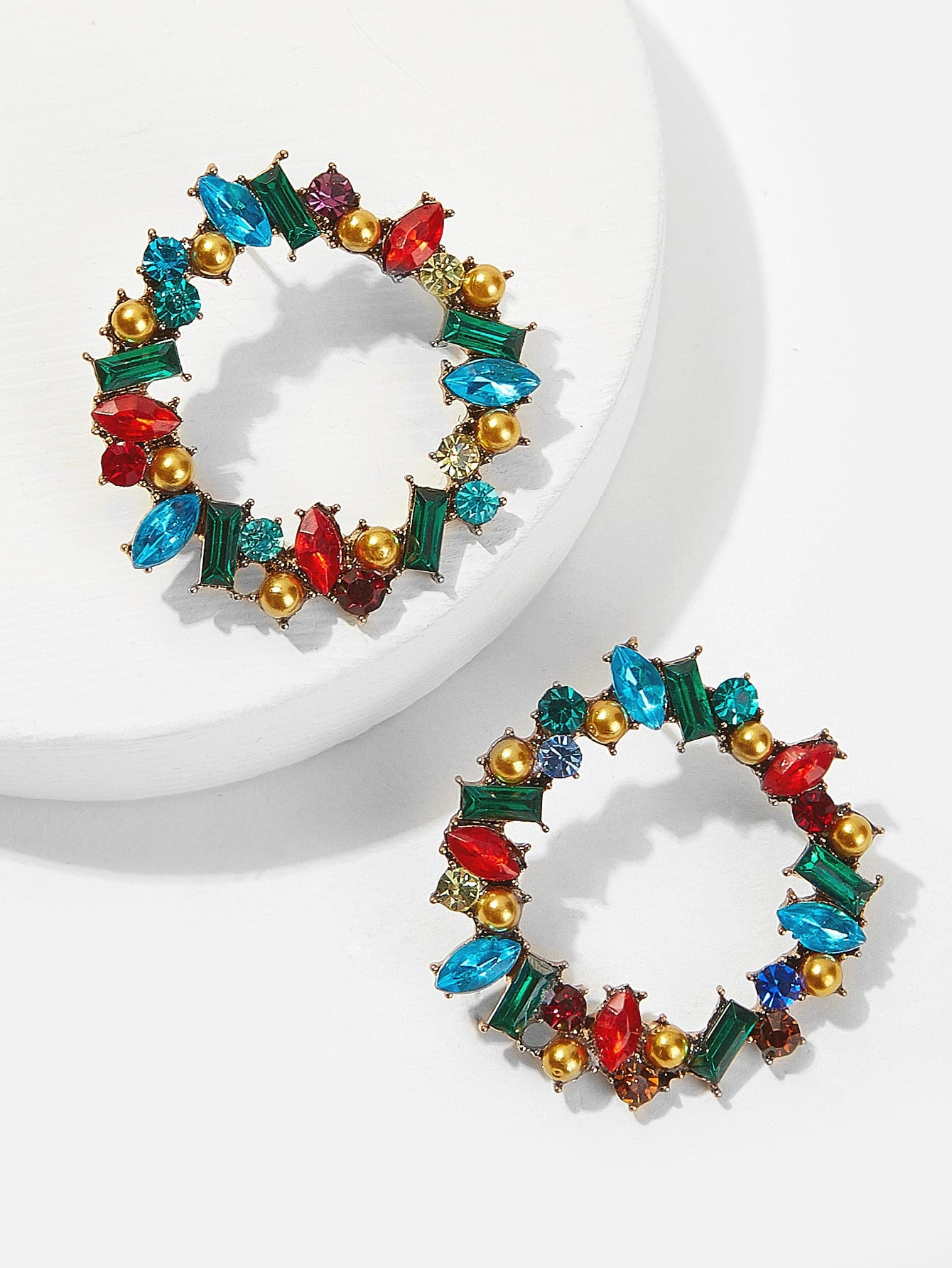 1pair Multicolor Gold Metal Hoop Earrings With Gemstone