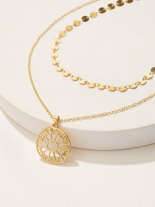 Golden Double Layered Disc Detail Round Pendant 1pc Necklace