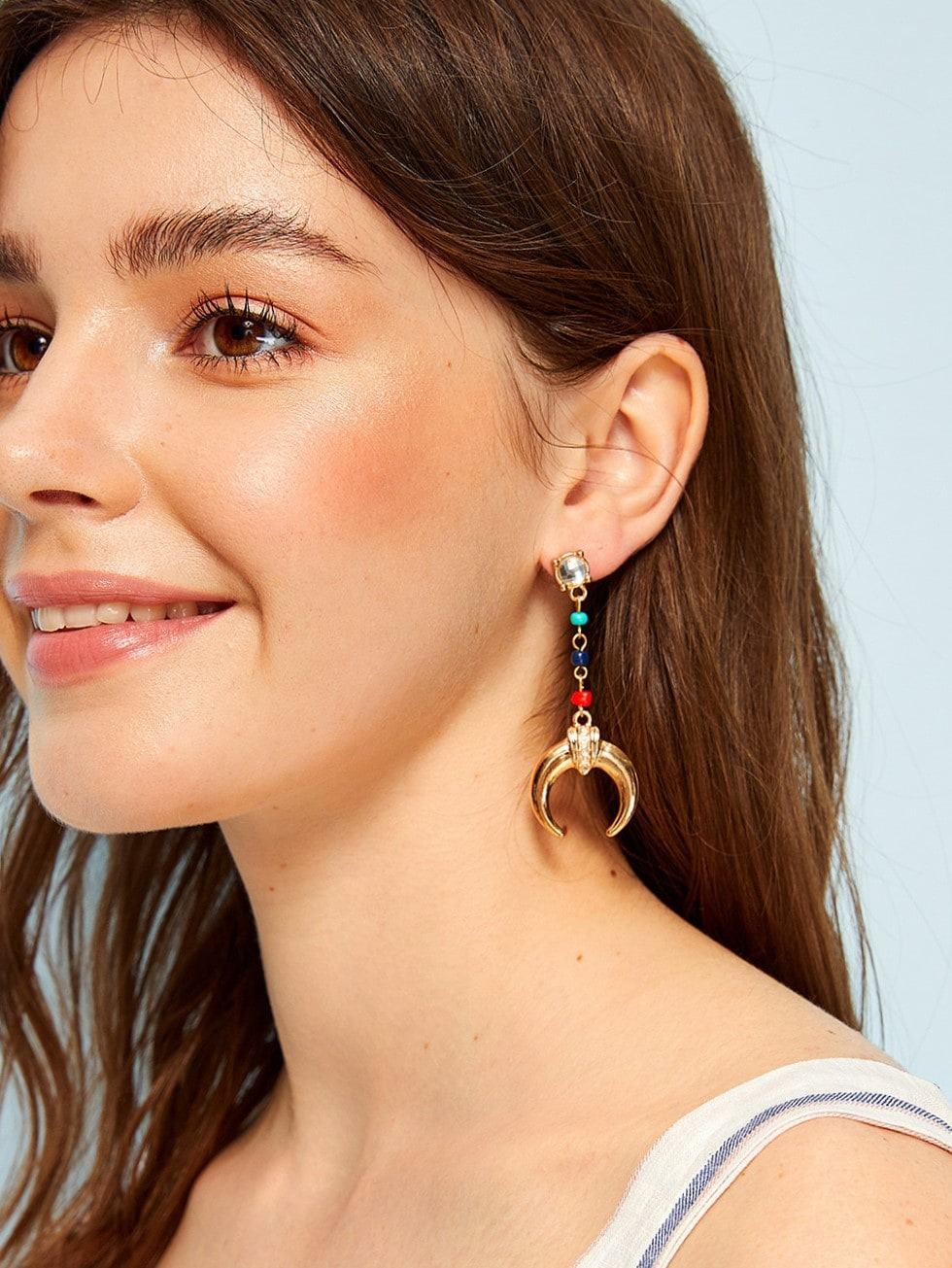 Multicolored Rhinestone Engraved Moon Shaped Golden 1pair Drop Earring