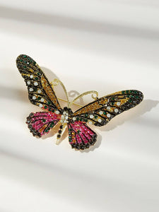 Multicolored Butterfly Shaped Rhinestone 1pc Brooch