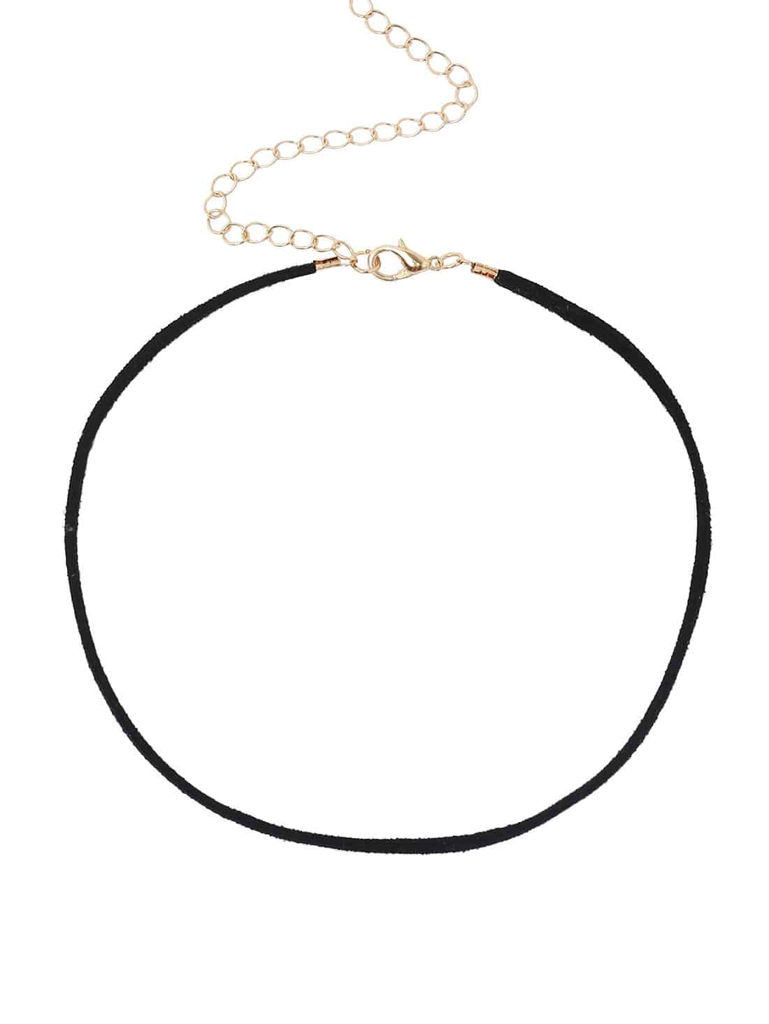 Black Faux Suede Casual Choker Necklace