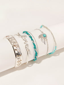 Multicolored Letter & Leaf Detail 5pcs Cuff, Link Bracelet
