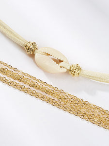 Golden 2pcs Shell Detail & Layered Alloy Anklet
