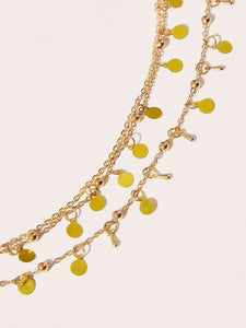 Golden Double Layered Disc Charm 1pc Waist Chain
