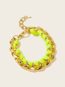 1pc Golden And Neon Yellow Woven String & Metal Bracelet