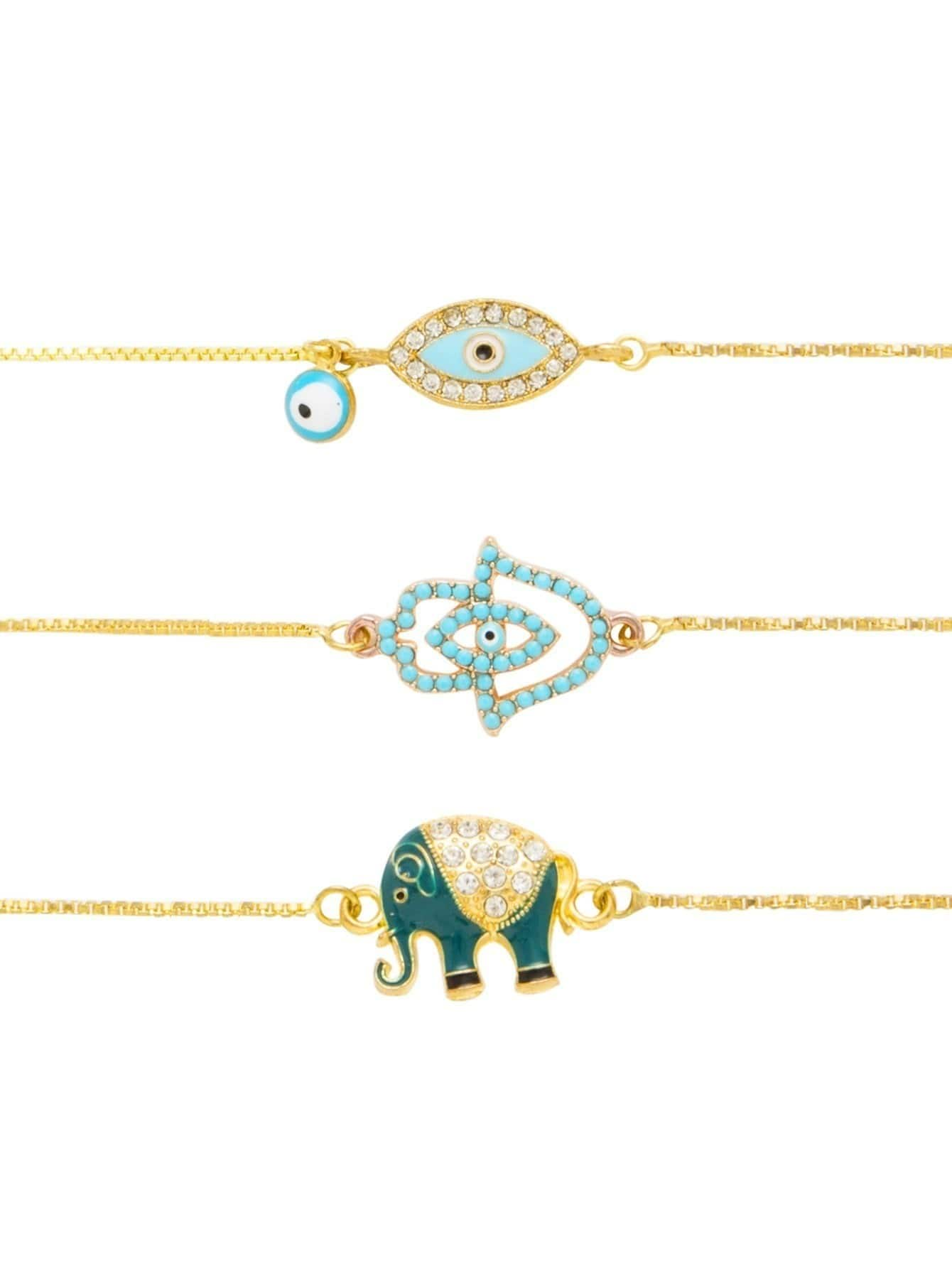 Eye & Elephant Design Golden Link 3pcs Bracelet Set