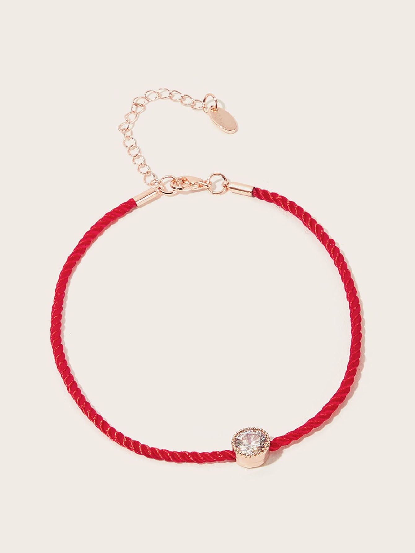 1pc Red Woven Rhinestone Detail Anklet