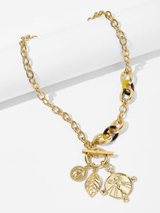 Golden Leaf & Coin Pendant 1pc Thick Chain Necklace