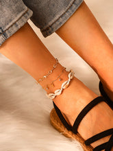 Load image into Gallery viewer, Beige Shell & Rhinestone Decor 3pcs Chain Anklet