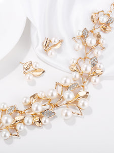 Golden Leaf With Faux Pearl 3 Pack Necklace & Earrings
