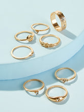 Load image into Gallery viewer, 8pcs Gold Rhinestone Detail Rings Set