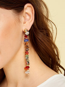 Multicolor 1pair Stone Design Drop Dangle Earrings