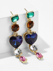 Multicolored Rhinestone Heart Detail 1 Pair Dangle Earrings
