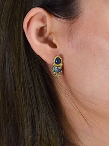Golden Stud Earrings With Blue Gemstone
