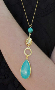 Tess Gold Filigree And Turquoise Magnesite Beads Necklace