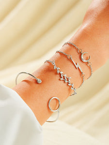 Silver Rhinestone Moon & Leaf Decor 4pcs Chain Bracelet