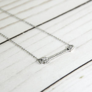 Shiny Zirconia Pave Arrow Fearless Necklace