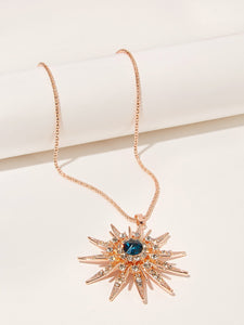 Golden 1pc Rhinestone Metal Sun Pendant Necklace