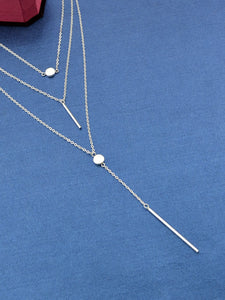 Multilayered  Silver Pendant Chain Necklace