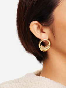 Golden Ring Decorated 1pair Hoop Earrings
