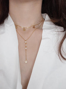 Golden Double Layered Star Charm Lariats Necklace
