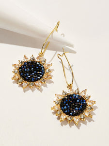 Blue 1pair Rhinestone Metal Sunflower Design Drop Dangle Earrings