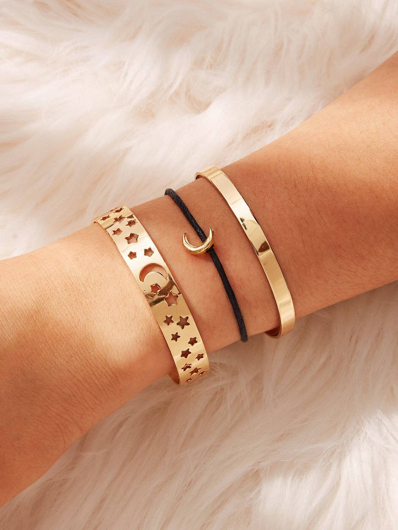 3pcs Black And Golden Star & Moon Detail Cuff Bracelet Set