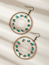 Load image into Gallery viewer, Multicolor 1pair Stone Decor Metal Hollow Hoop Drop Dangle Earrings