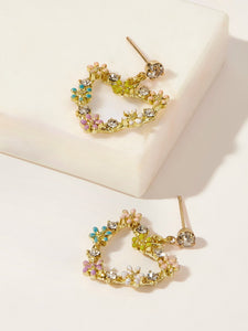Multicolored Flower Rhinestone In Golden Heart Shaped 1 Pair Dangle Earrings