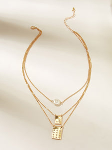 Golden Rectangle Charm Layered Chain With Faux Pearl 1pc Necklace
