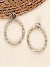 Load image into Gallery viewer, Oval Beige Beaded Hoop Stud Back Dangle Earrings