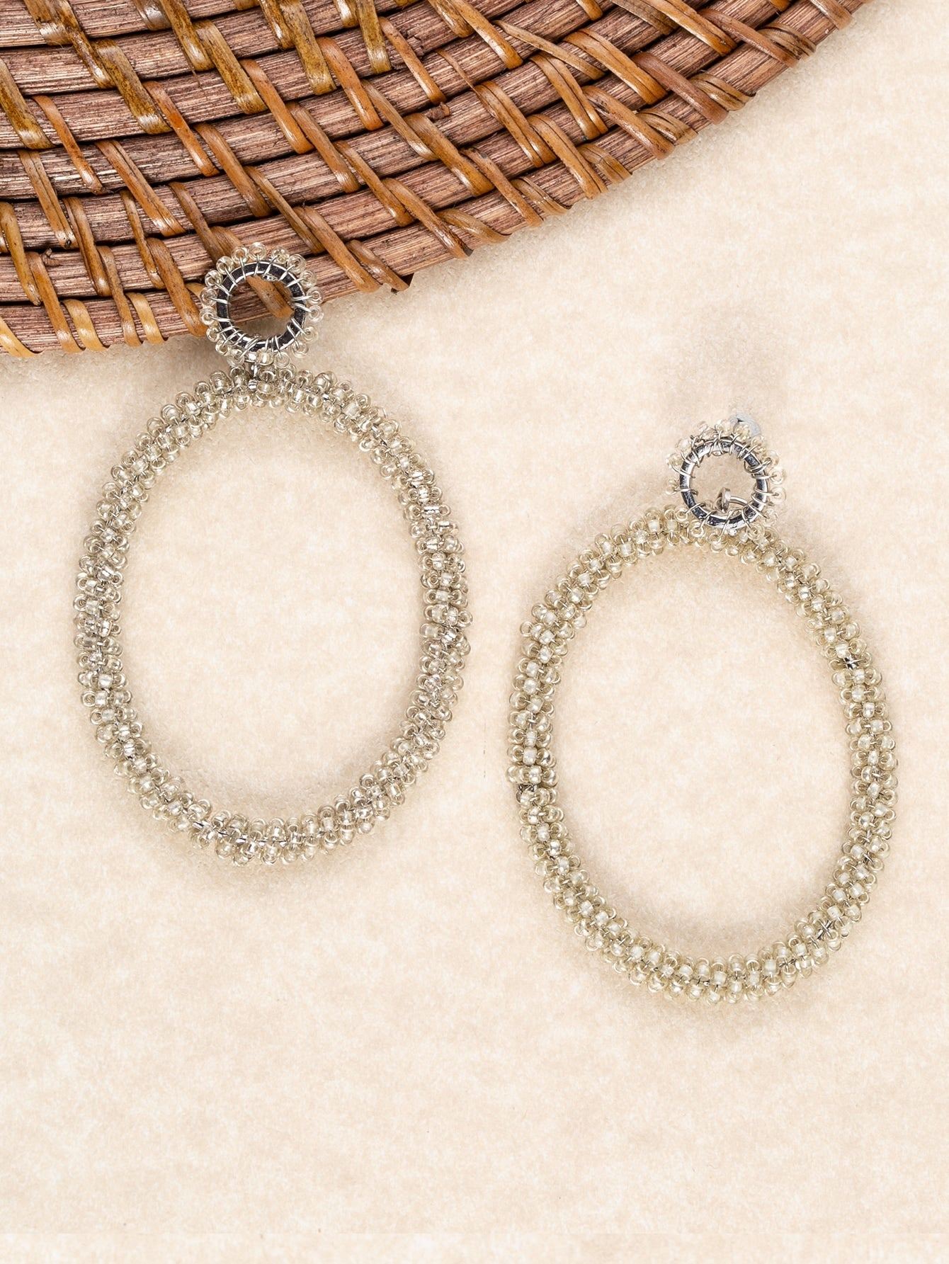 Oval Beige Beaded Hoop Stud Back Dangle Earrings