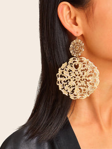 Golden 1pair Hollow Out Round Metal Drop Dangle Earrings