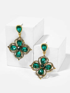 Green Gemstone Flower Golden 1 Pair Dangle Earrings
