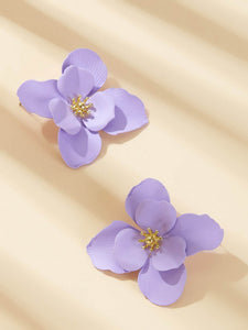 Purple Flower 1pair Gold Stud Earrings