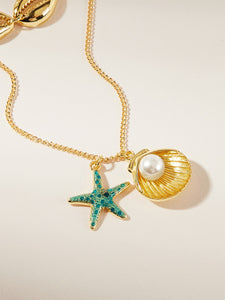1pc Green Star And Golden Shell With Pearl Pendant Chain Necklace
