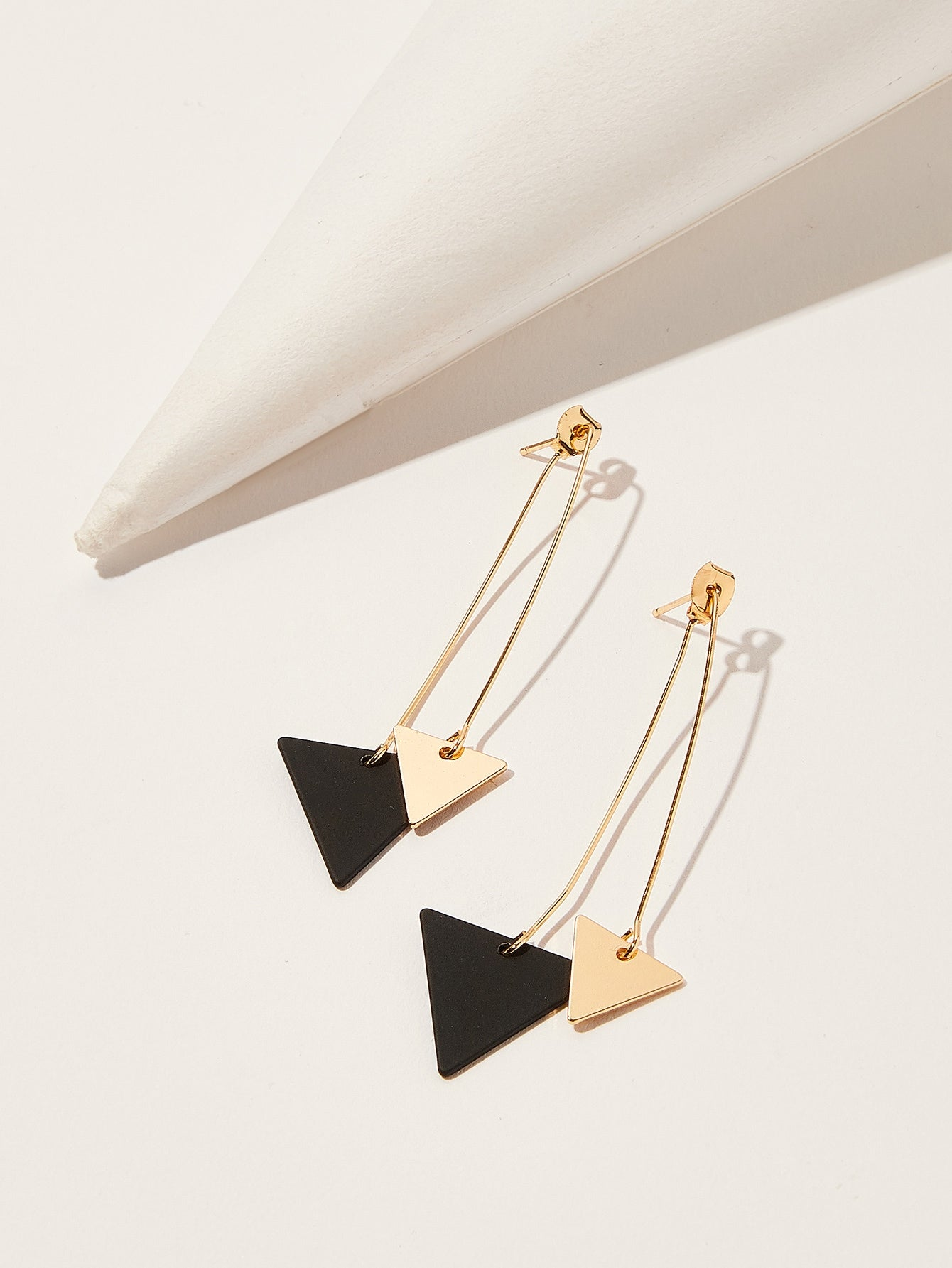 Multicolor Double Triangle Gold 1pair Drop Dangle Earrings