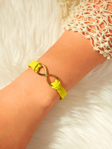 Golden Criss Cross With Yellow Band Detail Bracelet 1pc