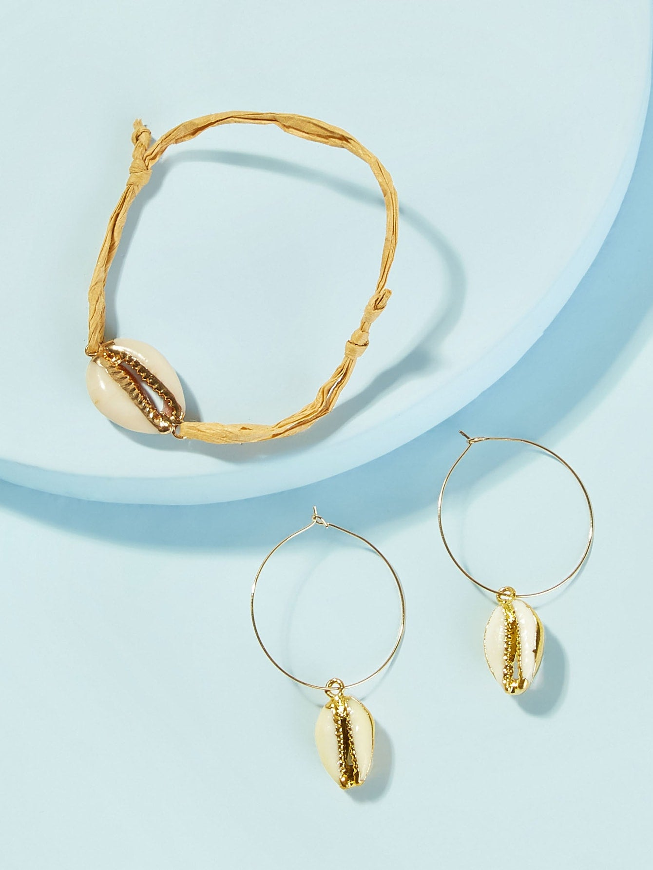 Golden 3pcs Shell Decor Metal Bracelet & Hoop Drop Earring
