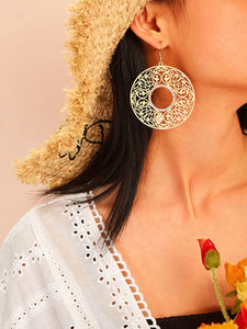 Golden Hollow Circle Scroll Pattern 1pair Drop Earrings