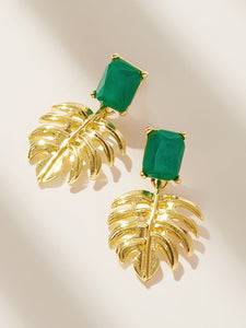 Green Gemstone With Golden Palm 1 Pair Drop Earrings